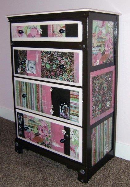 Mod Podge And Sbook Paper On Old Dresser