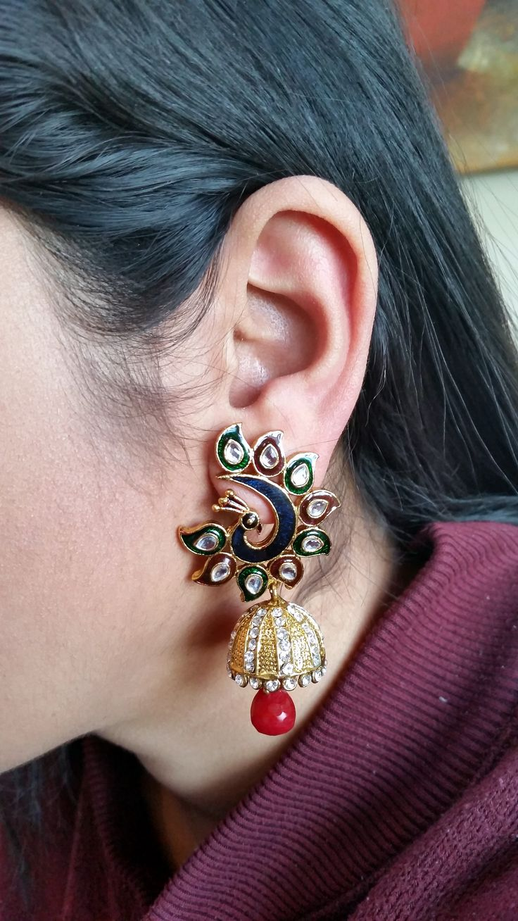 DC-021 ETHNIC RED GREEN KUNDAN PEACOCK PEARL GOLD TONE DESIGNER INDIAN BOLLYWOOD DANGLE JHUMKA EARRINGS #kundan #peacock #jhumka #bollywood #earrings #jewelry  https://www.facebook.com/pages/Diya-Collections-Fashion-Jewelry/334859736697506