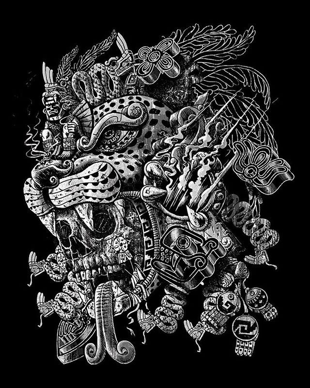 Repost Qetzaart Jaguar Warrior Store Link In Bio Tbt Mexica Aztec Mesoamerican Jaguar Warrior Skull Tezcatlipoca Mayan Art Aztec Art Aztec Artwork