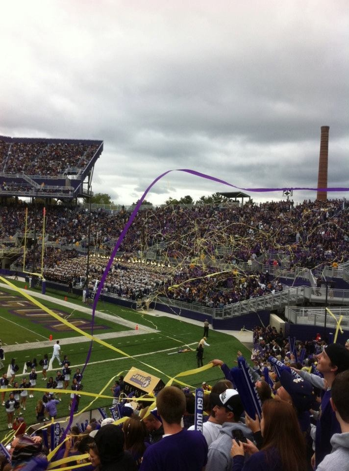 JMU Tradition:  After each James Madison University touchdown or field goal, the stadium is a vision of purple and gold with streamers flying in every direction. JMU pride erupts from every corner of the stands as fans celebrate their team's successes game after game.