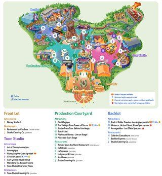 Karte von Walt Disney Studios von Paris
