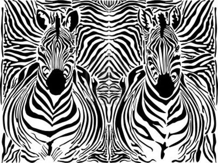 illustratie patroon achtergrond zebra huiden en koppen Stockfoto - 12486306
