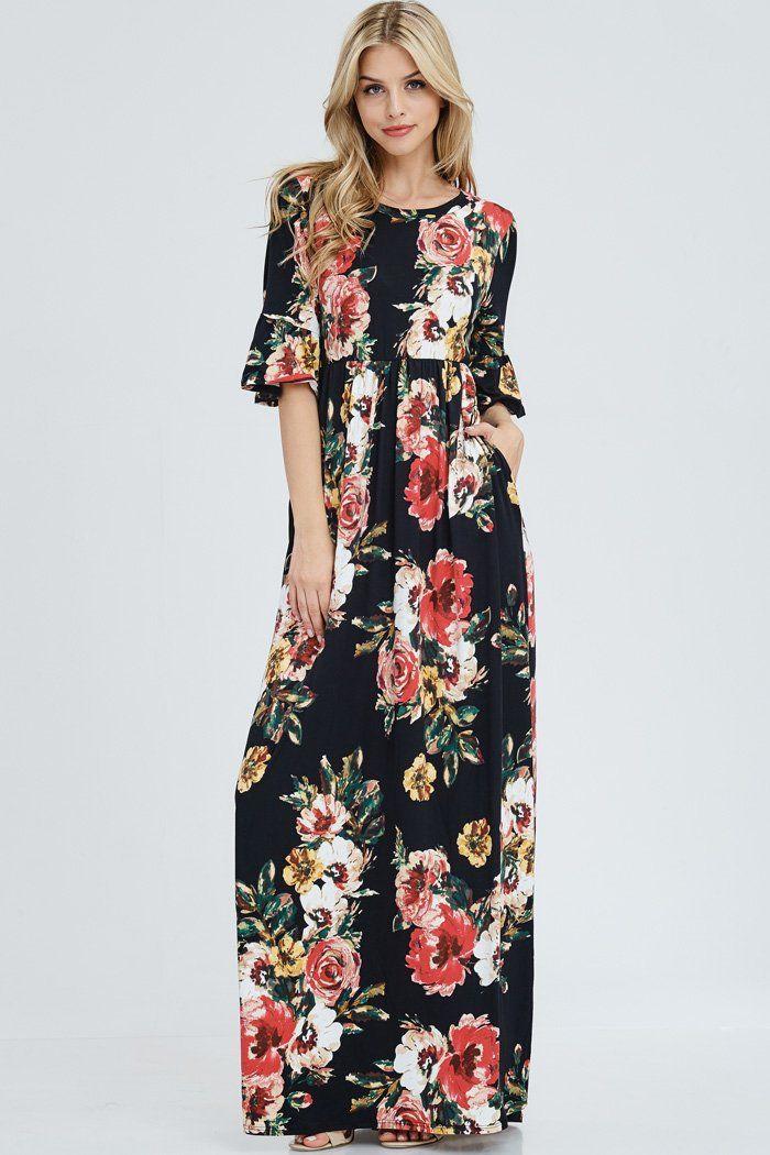 2d93a1af6a3 Gloria Floral Maxi Dress   Black – GOZON Boutique