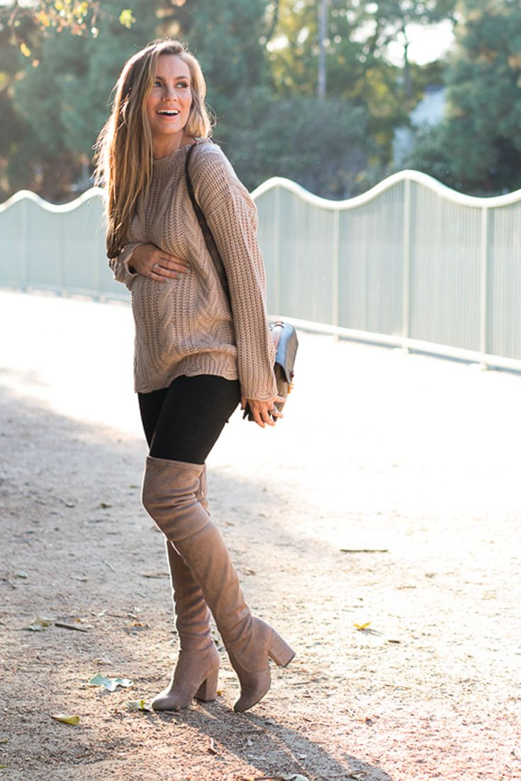 I'm wearing: Dreamers by Debut Cable Knit Sweater, Madewell Maternity Skinny Jeans, Steve Madden Norri Boots, Louis Vuitton,ThirdLove T-Shirt Bra, MAC Nude Lipstick. Angela Lanter, Fashion Blogger, pregnancy outfit. Fall outfit, fall fashion trends.