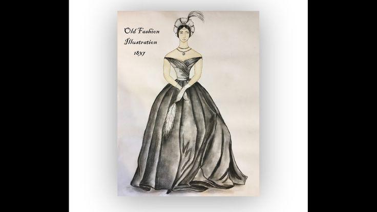Old Fashion Illustration/ 1837/ Evening dress