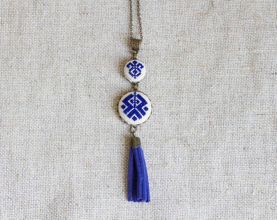 Cross stitch Ethnic necklace - Ethnic embroidery - dark blue - Ethnic collection by Skrynka n065