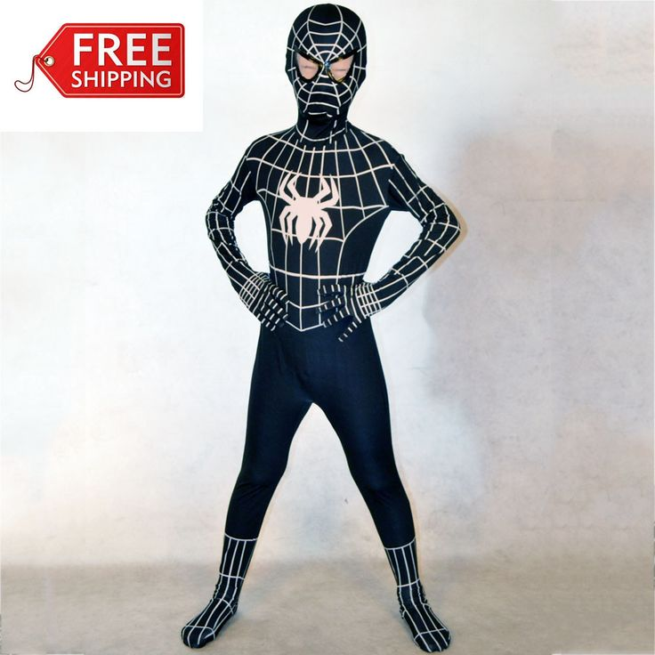 Halloween costumes for kids costumes boys black Spiderman costume Child superHero Cosplay Spandex zentai Full bodysuit Custom-in Costumes fr...