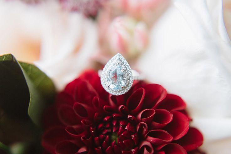 teardrop engagement ring -  See more:  https://ruffledblog.com/sunday-brunch-wedding