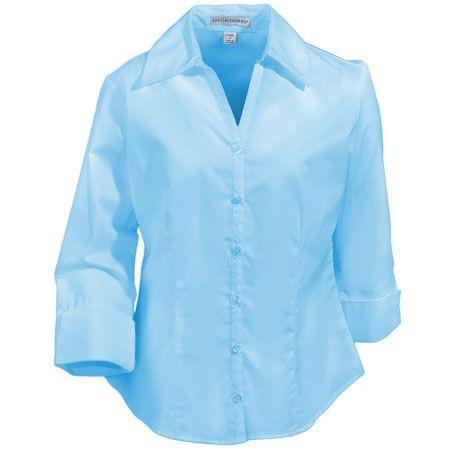 Port Authority Womens 3/4 Sleeve Open Neck Blouse L6290 Light Blue