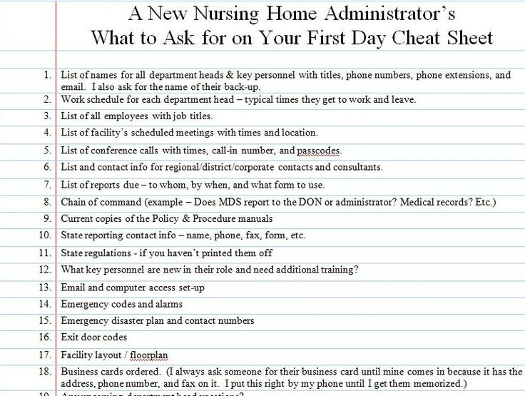 A new nursing home administrator's first day checklist
