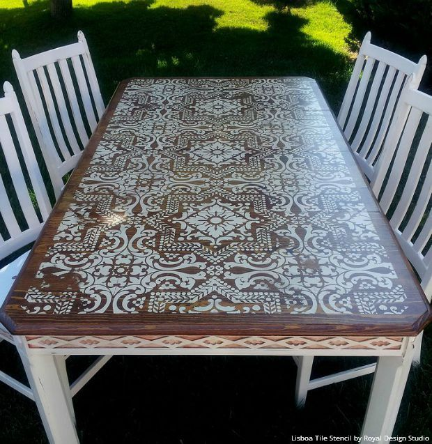 Boho Chic Stained Wood and White Chalk Paint Painted Furniture Table Top with Lisboa Tile Stencils - Royal Design Studio