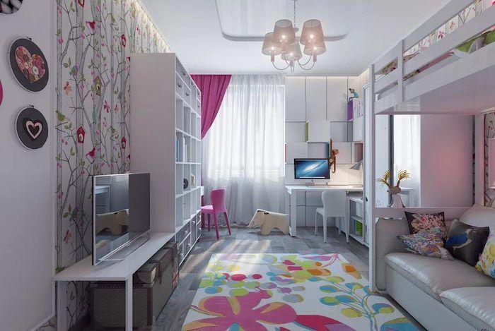 Jugendzimmer Gestalten Ideen Bunter Teppich Mit Blumen Und Farben Bei Einem  Dezenten Zimmer In Hauptfarbe Eine