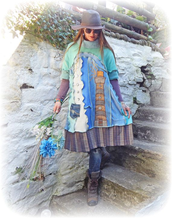 Nautical Dress Smock Denim Blue Green Upcycled by TheTopianDen