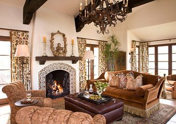 I like this fireplace w/ tile border  wood mantle.  I'd like a more distressed wood mantle...thicker, too, perhaps.  I like the dark beams + dry walled, slightly off white ceilings + walls.  I also like the curtain rods  height of the curtain rod over the doors.