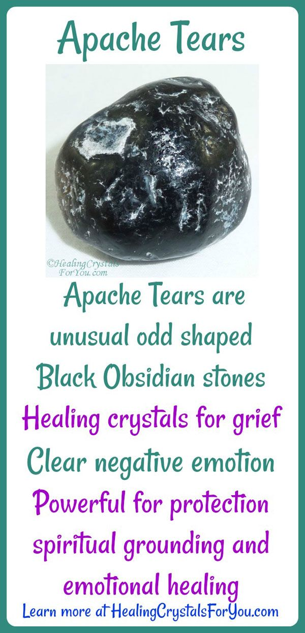 Apache Tears are strange out-of-shape Black Obsidian stones Healing crystals for grief that clear negative emotions. Powerful for protection, spiritual grounding and emotional healing.