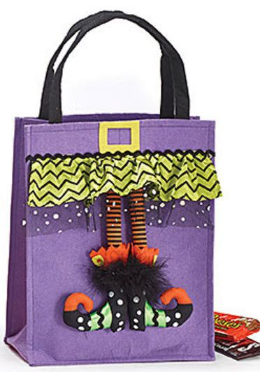 Large Halloween felt bag assortment with dangling witch legs and satin printed…
