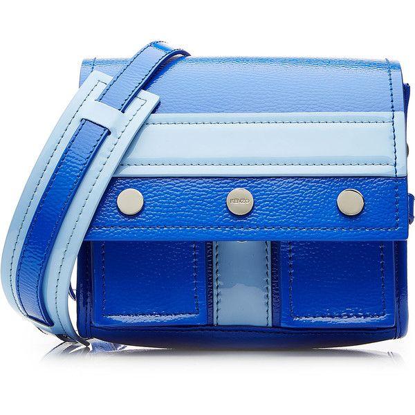 Kenzo Leather Shoulder Bag ($505) ❤ liked on Polyvore featuring bags, handbags, shoulder bags, blue, leather purse, leather flap handbag, shoulder handbags, shoulder strap handbags and genuine leather purse