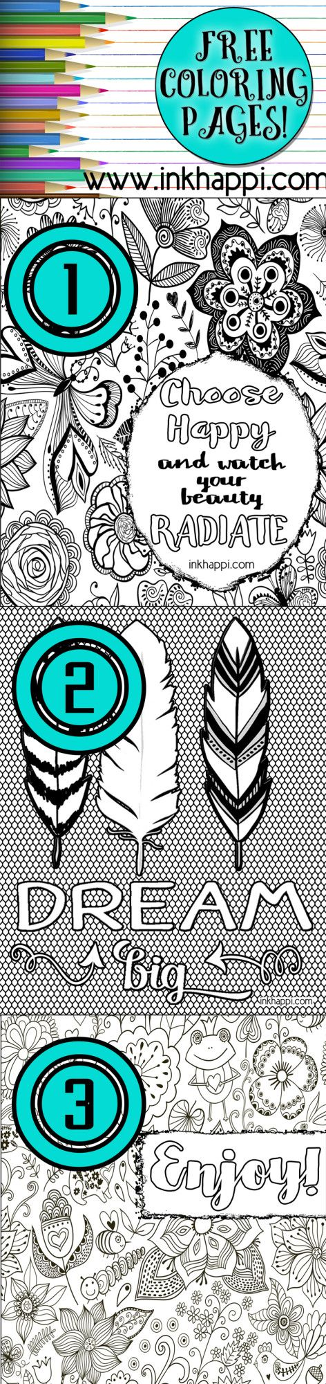 Fun and Inspiring.... Free printable coloring pages! Great for framing.