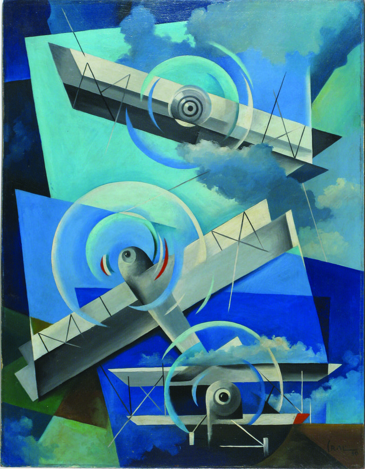 "Tullio Crali - Acrobazie in cielo - Aeropainting, a re-adjusted vision of landscape seen from an aeroplane in flight, was codified in 1929 in the manifesto Aeropittura futurista. During the 'thirties and 'forties it became one of the more dominate aspects of Futurism. The painter Tullio Crali was perhaps the most famous ""Aeropainter"", and although Italian futurism pretty much died with it's creator, F.T. Marinetti, he continued to paint them until he died in the 1980's."