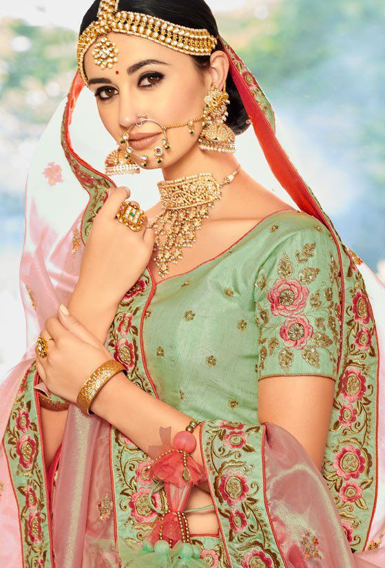 Buy Mint green dolla silk Indian wedding lehenga in UK, USA and Canada