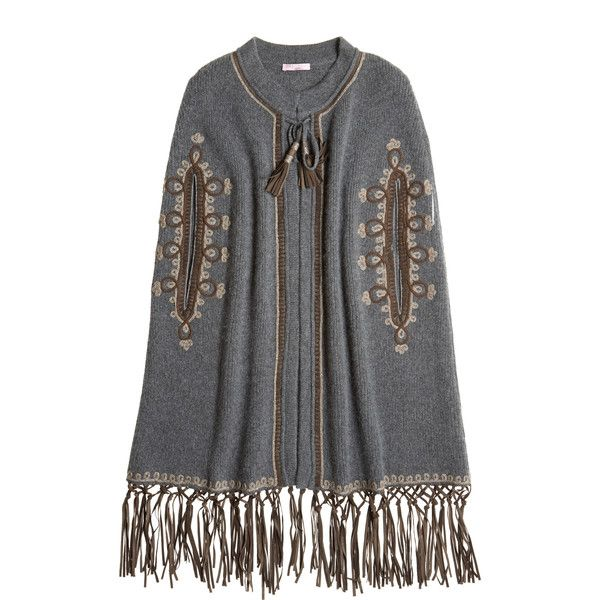 CALYPSO St. Barth Perelina Cashmere Embellished Poncho ($725) ❤ liked on Polyvore featuring outerwear, derbygry, calypso st. barth, black cashmere poncho, black poncho and cashmere poncho