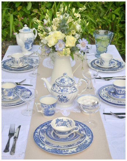 Beautiful table setting for a wedding afternoon tea. Crockery from Devon Vintage…