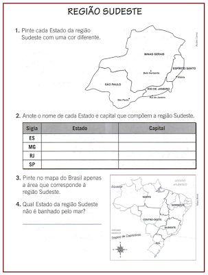 Mundo infantil 2º ano: Região sudeste, sul e nordeste- Atividades