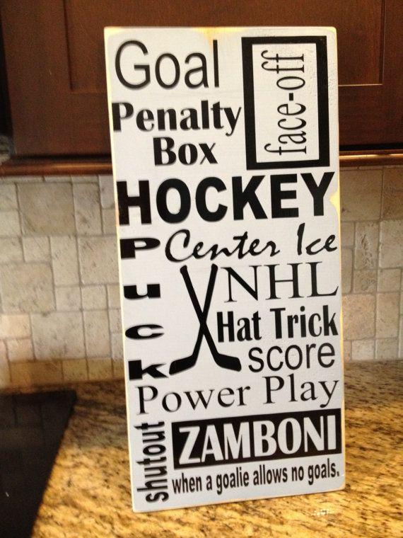 Ice Hockey Subway Art 12X24 Wooden sign.  Great decor for any Hockey and Sports Fan. via Etsy
