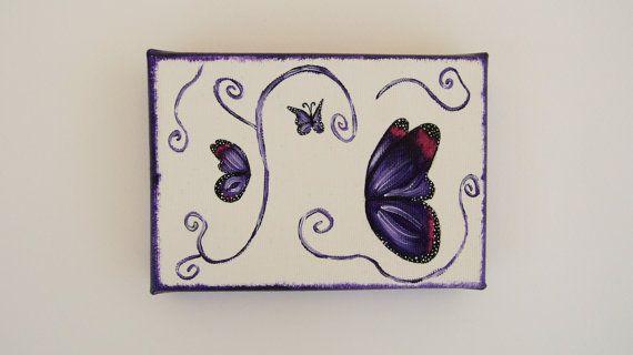 Mini canvas, mini canvas painting, mini canvas art, small canvas art, small wall art, small wall decor, butterfly canvas, butterfly art