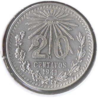 Moneda de plata 20 centavos Mexico 1941., Tienda Numismatica y Filatelia Lopez, compra venta de monedas oro y plata, sellos españa, accesori...