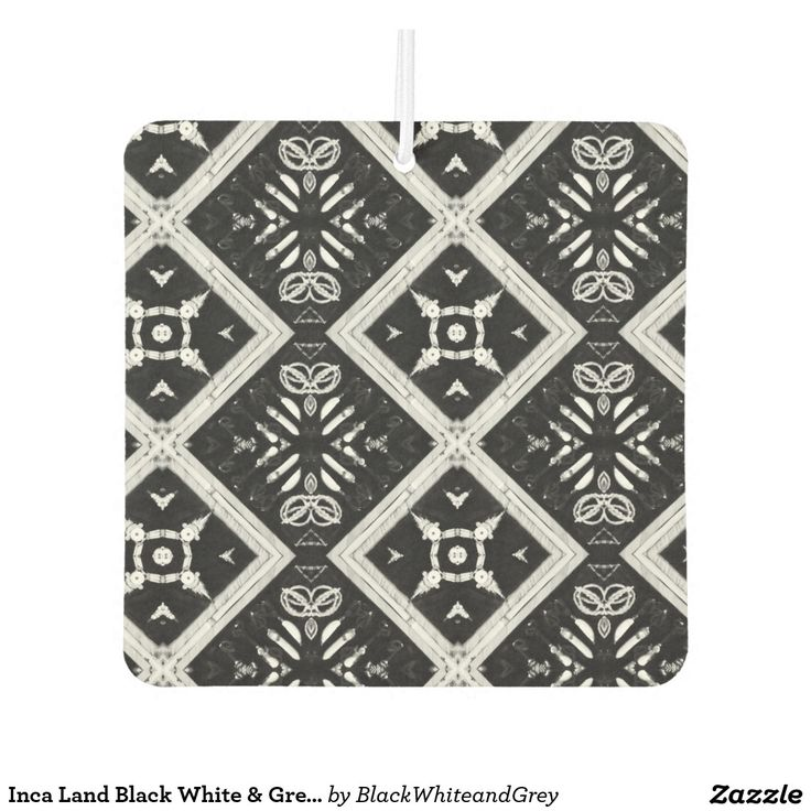 Inca Land Black White & Grey Square Air Freshener