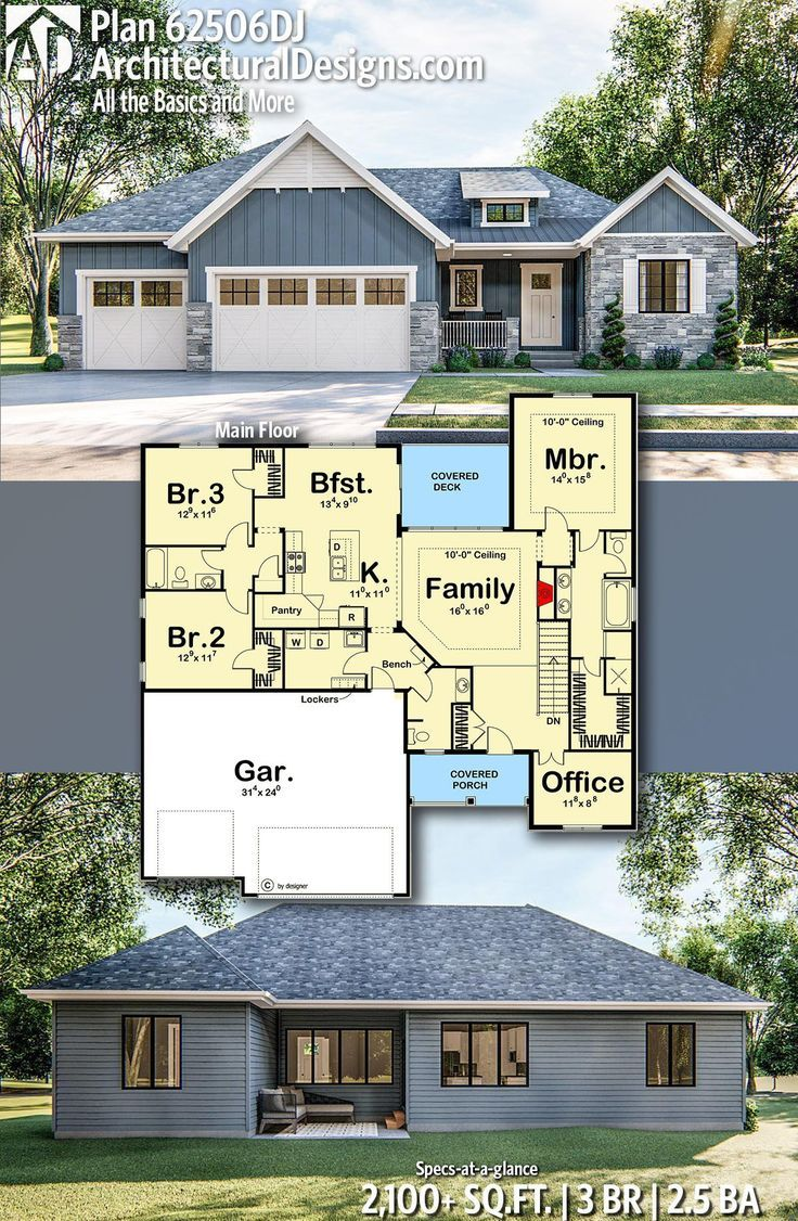 Plan 62506dj One Level Craftsman Home Plan With Private Office In 2020 Craftsman House Plans Family House Plans Craftsman House