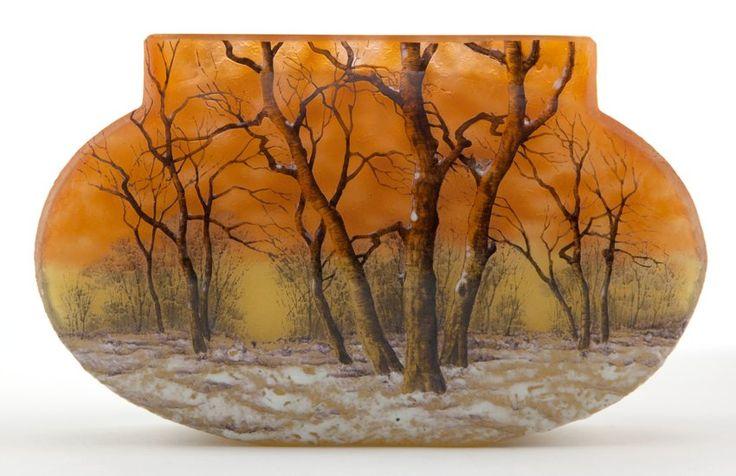 Art Glass:Daum, DAUM GLASS VASE . Yellow glass with etched and enameled winterlandscape scene, circa 1900 . Marks: Daum, Nancy . 4-1/2 ...