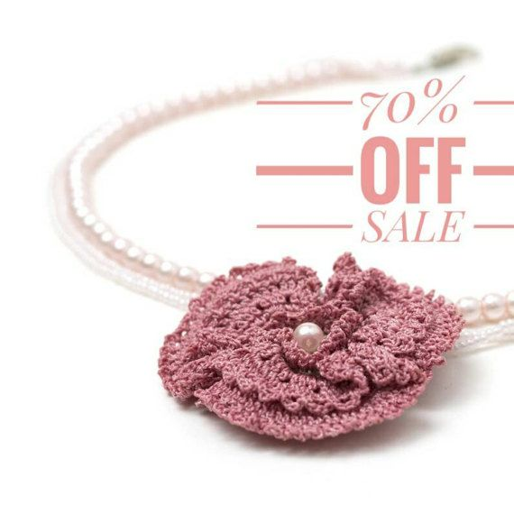 70% OFF Necklace-Bohemian Wedding JewelryCrochet by PinaraDesign