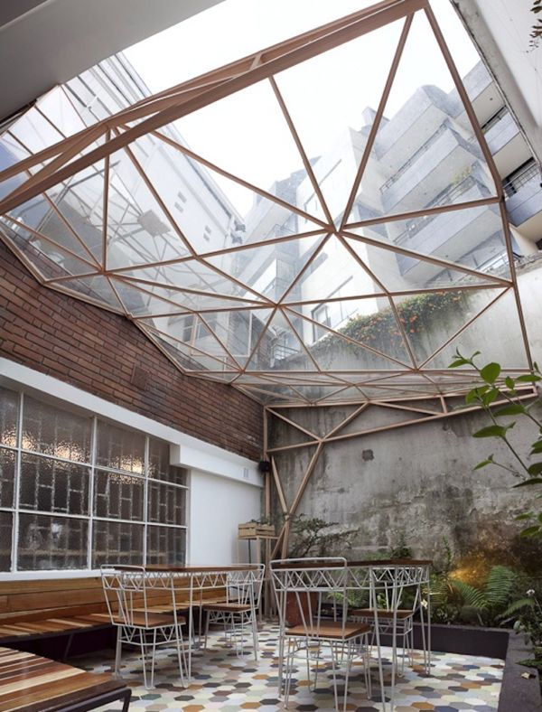 Amazing faceted skylight ceiling!