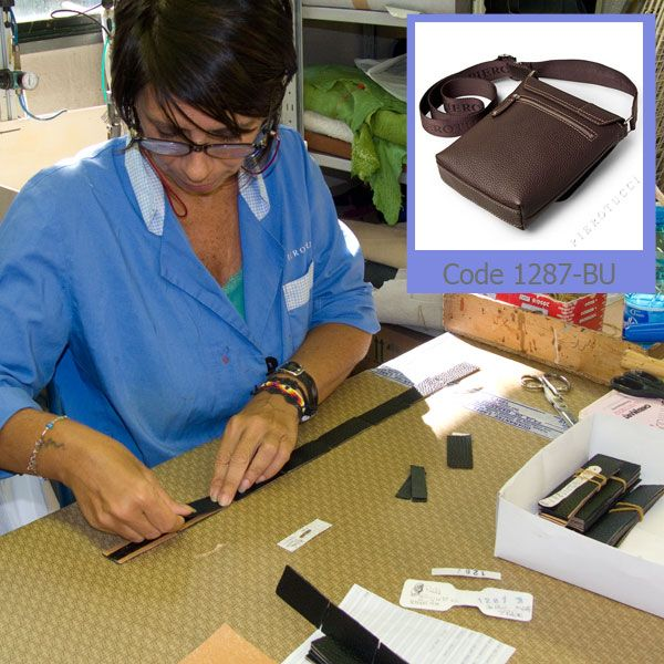 All of our bags are assembled 100% in Florence Italy. Betta is preparing the reinforced leather tabs which hold the cross body straps in place on our Pierotucci Men's Messenger bag.  http://www.pierotucci.com/men/cross_body_bag/ #messengerbag #pierotucci #leatherbags #Italianleatherbags