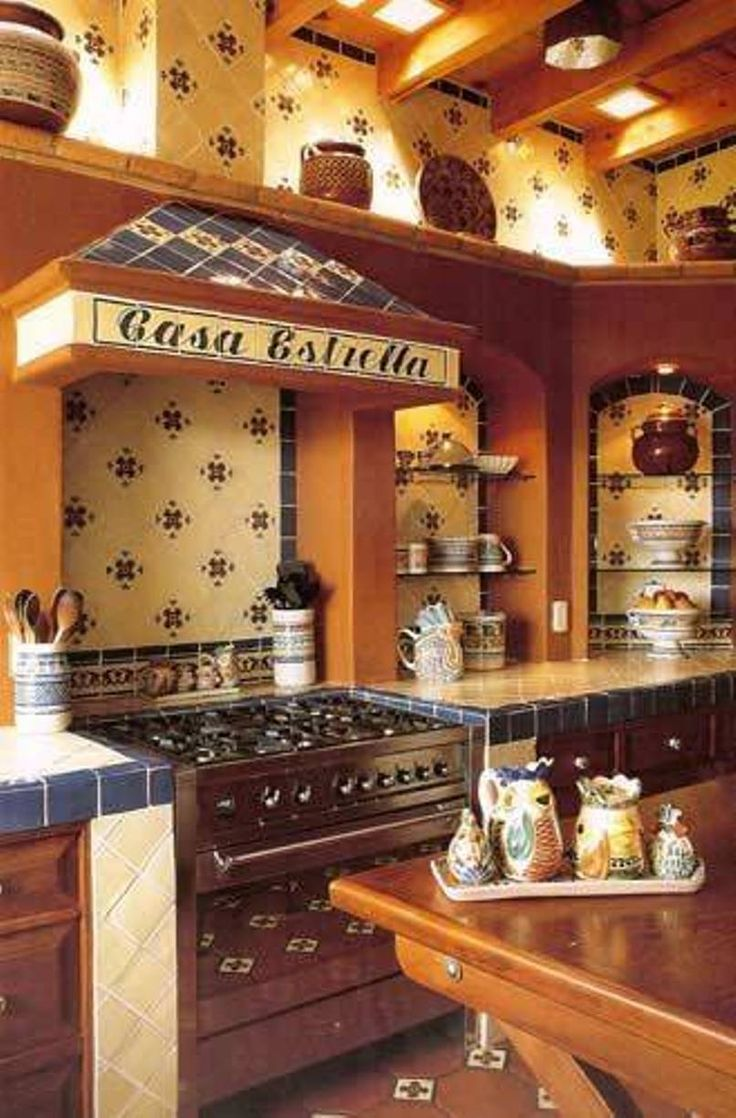 Kitchen , Stunning Mexican Kitchens : Mexican Kitchens With Shelving Over Hood And Glass Shelving And Ceramic Countertop And Wooden Cabinets