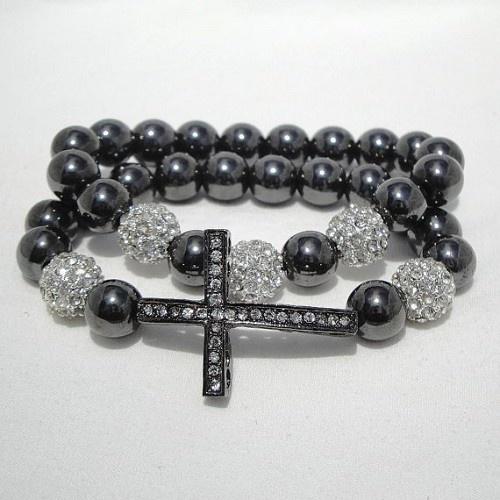 Hematite Sideways Cross Bracelet Set