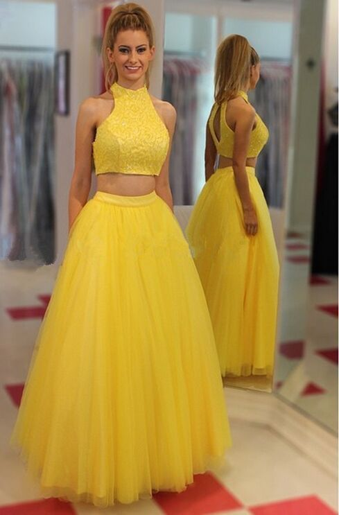 47a8d9092a4c Yellow Two-piece Prom Dress With Crop Top | 2 Pieces Dresses | Prom ...