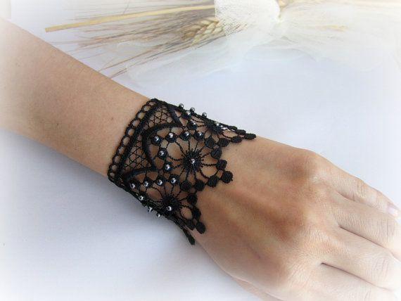 Lace cuff bracelet black lace bracelet white by MalinaCapricciosa