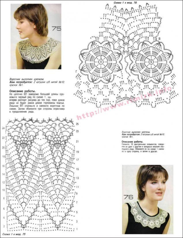 207 best Crochet คอเสื้อ- images on Pinterest | Crochet lace collar ...