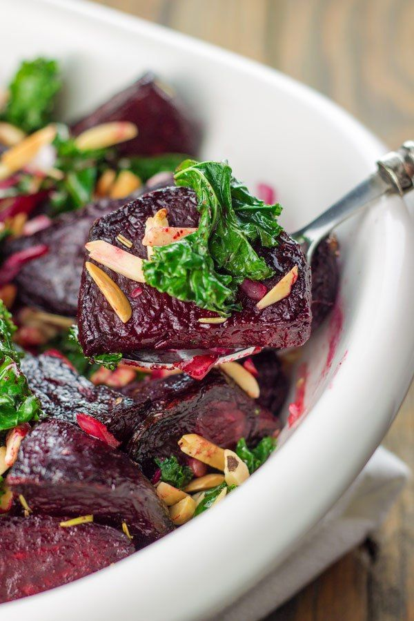 Roasted Beet and Kale Salad - http://www.themediterraneandish.com/roasted-beet-salad-kale/