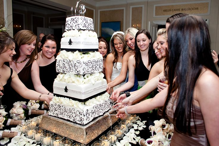 """Most popular in the South, especially around New Orleans, the Cake Pull gets its roots from an old Victorian tradition of """"ribbon pulling."""" In those days, charms of luck and good fortune were placed into the wedding cake by the bride for her single friends. Nowadays, bakers place sterling silver charms with specific meanings inside the bottom layer of the bride's cake, and all the single ladies are given the opportunity to pull a charm from the cake (a ceremony called the """"ribbon pull"""") just…"""