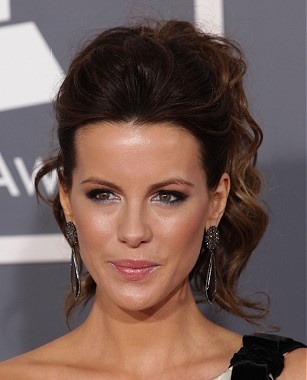A long brown wavy multi-tonal updo Kate Beckinsale hairstyle by Celebrity Hairstyles  #hairstyles  at  WWW.UKHAIRDRESSERS.COM