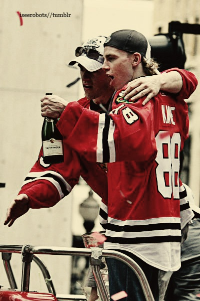 The only thing that could make this photo better would be Kaner holding a bottle of Andre. Jonathan Toews and Patrick Kane, behaving well and always making their curfew.