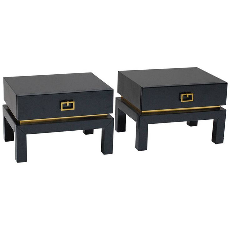 Pair of 1970s Lacquered Wood and Brass Side Tables by Maison Jansen