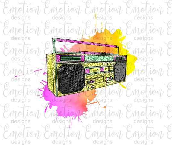 Watercolor Boombox Clipart 80s Music 90s Music Instant Etsy Clip Art Boombox Scrapbook