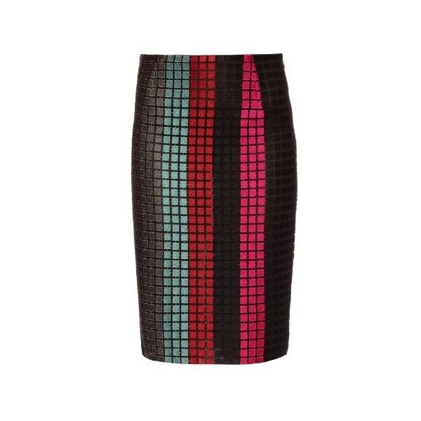 MARCO DE VINCENZO Macramé-lace striped skirt ($837) ❤ liked on Polyvore featuring skirts, black stripe, pencil skirt, high waisted skirts, stripe pencil skirt, stripe skirt and colorful pencil skirts