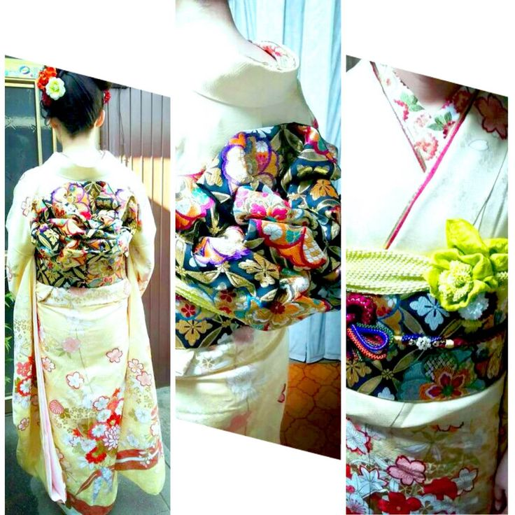 大きな鶴がはばたいた豪華な振袖。水色の帯揚げが華やかでかわいい!!
