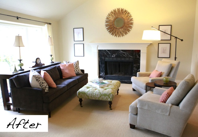 great before and after living room - just by adding a few accessories!: Interior Decorating, Living Rooms, Bathroom Inspiration, Sunburst Mirror, Cosmo Ideas, Wall Color, Living Room Designs, Living Family Room, Shade Couch